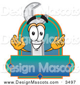 Illustration of a Wrench Mascot with a Blank Label by Toons4Biz