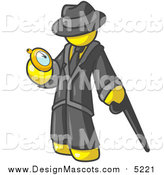 Illustration of a Yellow Business Man Checking His Pocket Watch by Leo Blanchette