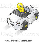 Illustration of a Yellow Man Talking on a Cell Phone While Driving in a White Convertible Car by Leo Blanchette
