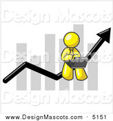 Illustration of a Yellow Man Using a Laptop, Riding the Increasing Arrow Line on a Business Chart Graph by Leo Blanchette