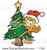 Illustration of a Yellow Ticket Mascot Cartoon Character Waving and Standing by a Decorated Christmas Tree by Toons4Biz