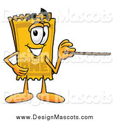 Illustration of a Yellow Ticket Mascot Holding a Pointer Stick by Toons4Biz