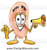 Illustration of an Ear Mascot Using a Megaphone by Toons4Biz