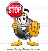 Illustration of an Eight Ball Mascot Holding a Stop Sign by Toons4Biz