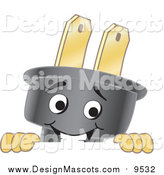 Illustration of an Electric Plug Mascot Peeking over a Blank Sign by Toons4Biz