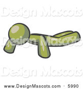 Illustration of an Olive Green Man Doing Push Ups While Strength Training by Leo Blanchette