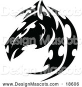 Illustration of Black and White Tribal Horse Head Mascot by Chromaco