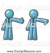 Illustration of Denim Blue Business Men Giving the Thumbs up Then the Thumbs down by Leo Blanchette