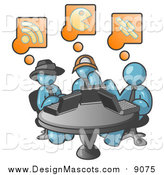 Illustration of Denim Blue Men Using Laptops in an Internet Cafe by Leo Blanchette
