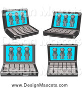 Illustration of Laptop Computers with Three Gray Men on Each Screen by Leo Blanchette