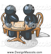 March 21st, 2014: Illustration of Navy Blue Men Going over Documents at a Table by Leo Blanchette