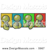 Illustration of Olive Green Men in Different Poses Against Colorful Backgrounds, Perhaps During a Meeting by Leo Blanchette