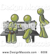 Illustration of Olive Green Men Waiting at a Bench at a Bus Stop by Leo Blanchette