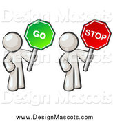 Illustration of White Men Holding Stop and Go Signs by Leo Blanchette