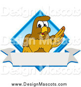 Royalty-Free (RF) Clipart Illustration of a Hawk Mascot in a Blue Diamond by Toons4Biz