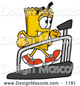Stock Cartoon of a Ticket Mascot Walking on a Treadmill by Toons4Biz
