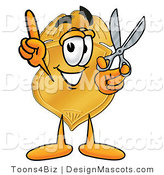 Stock Mascot Cartoon of a Badge Holding Shears by Toons4Biz