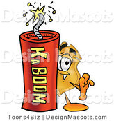 Stock Mascot Cartoon of a Badge Mascot and Dynamite by Toons4Biz