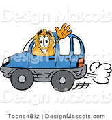 Stock Mascot Cartoon of a Badge Mascot Driving by Toons4Biz