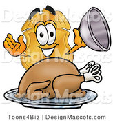 Stock Mascot Cartoon of a Badge with Roasted Turkey by Toons4Biz