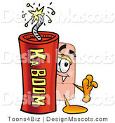 Stock Mascot Cartoon of a Bandage Mascot and Dynamite by Toons4Biz