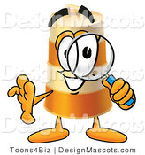 Stock Mascot Cartoon of a Barrel Mascot and Magnifying Glass by Toons4Biz