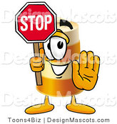 Stock Mascot Cartoon of a Barrel Mascot and Stop Sign by Toons4Biz