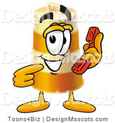 Stock Mascot Cartoon of a Barrel Mascot Holding a Telephone by Toons4Biz