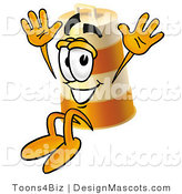 Stock Mascot Cartoon of a Barrel Mascot Jumping by Toons4Biz