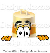 Stock Mascot Cartoon of a Barrel Mascot Peeking by Toons4Biz