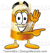 Stock Mascot Cartoon of a Barrel Mascot Pointing by Toons4Biz