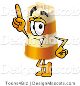Stock Mascot Cartoon of a Barrel Mascot Pointing up by Toons4Biz