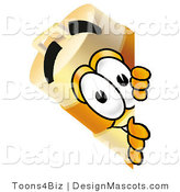 Stock Mascot Cartoon of a Barrel Mascot Spying by Toons4Biz