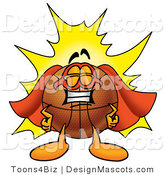 Stock Mascot Cartoon of a Basketball Mascot Dressed As a Super Hero by Toons4Biz