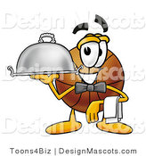 Stock Mascot Cartoon of a Basketball Mascot Dressed As a Waiter and Holding a Serving Platter by Toons4Biz