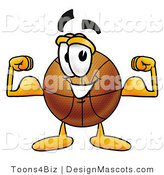 Stock Mascot Cartoon of a Basketball Mascot Flexing His Arm Muscles by Toons4Biz