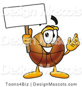 Stock Mascot Cartoon of a Basketball Mascot Holding a Blank Sign by Toons4Biz