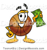 Stock Mascot Cartoon of a Basketball Mascot Holding a Dollar Bill by Toons4Biz