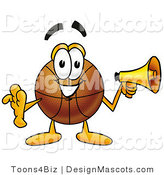 Stock Mascot Cartoon of a Basketball Mascot Holding a Megaphone by Toons4Biz