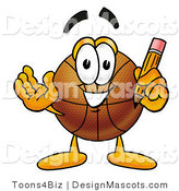 Stock Mascot Cartoon of a Basketball Mascot Holding a Pencil by Toons4Biz
