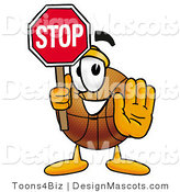 Stock Mascot Cartoon of a Basketball Mascot Holding a Stop Sign by Toons4Biz