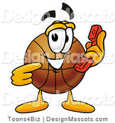Stock Mascot Cartoon of a Basketball Mascot Holding a Telephone by Toons4Biz