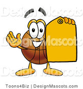 Stock Mascot Cartoon of a Basketball Mascot Holding an Orange Sales Price Tag by Toons4Biz