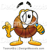 Stock Mascot Cartoon of a Basketball Mascot Looking Through a Magnifying Glass by Toons4Biz