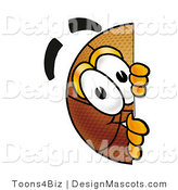 Stock Mascot Cartoon of a Basketball Mascot Peeking Around a Corner by Toons4Biz