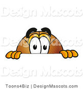 Stock Mascot Cartoon of a Basketball Mascot Peeking over a Surface by Toons4Biz