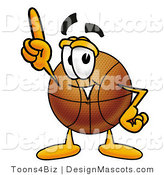 Stock Mascot Cartoon of a Basketball Mascot Pointing Upwards by Toons4Biz