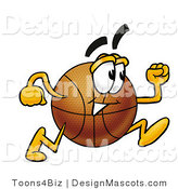 Stock Mascot Cartoon of a Basketball Mascot Running by Toons4Biz