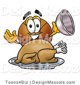 Stock Mascot Cartoon of a Basketball Mascot Serving a Thanksgiving Turkey on a Platter by Toons4Biz