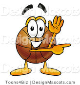 Stock Mascot Cartoon of a Basketball Mascot Waving and Pointing by Toons4Biz